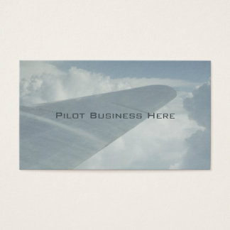Pilot Aeroplane Plane Wing in Clouds Flying Above Business Card