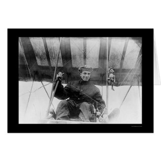 Pilot and Mascot in Airplane 1910 Card