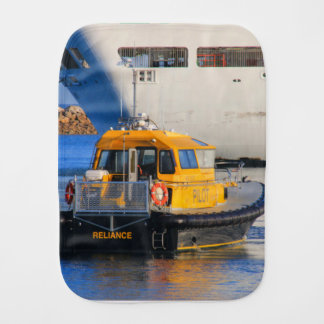Pilot boat and cruise ship burp cloth