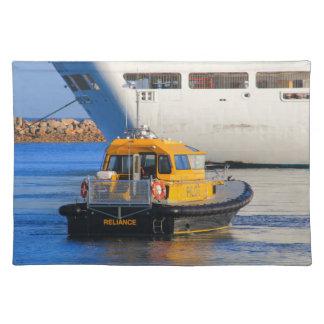 Pilot boat and cruise ship placemat