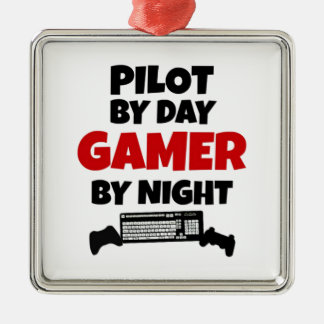 Pilot by Day Gamer by Night Metal Ornament