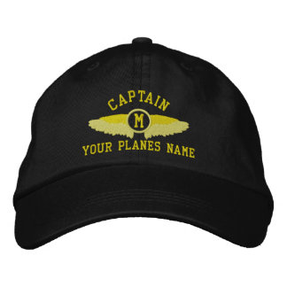 Pilot captains custom name and monogram baseball cap