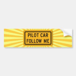 Pilot Car Follow Me Bumper Sticker