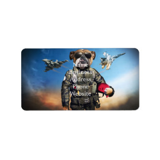 Pilot dog,funny bulldog,bulldog address label
