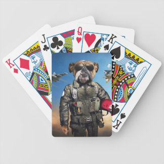 Pilot dog,funny bulldog,bulldog bicycle playing cards