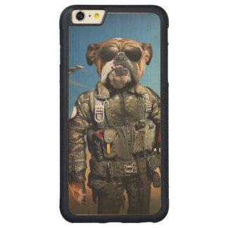 Pilot dog,funny bulldog,bulldog carved maple iPhone 6 plus bumper case