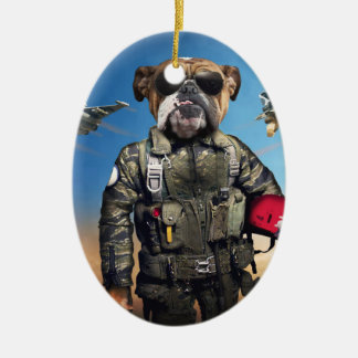 Pilot dog,funny bulldog,bulldog ceramic ornament
