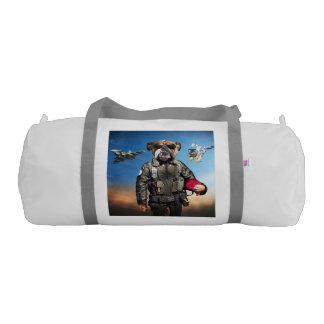 Pilot dog,funny bulldog,bulldog gym bag