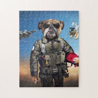 Pilot dog,funny bulldog,bulldog jigsaw puzzle
