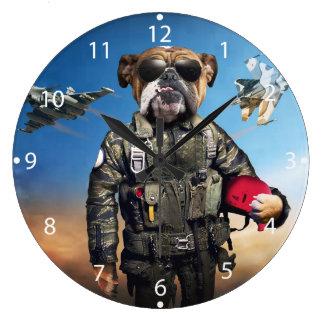 Pilot dog,funny bulldog,bulldog large clock