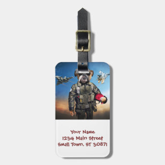Pilot dog,funny bulldog,bulldog luggage tag