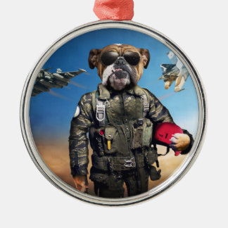 Pilot dog,funny bulldog,bulldog metal ornament