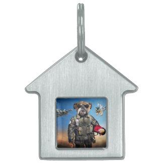 Pilot dog,funny bulldog,bulldog pet name tag