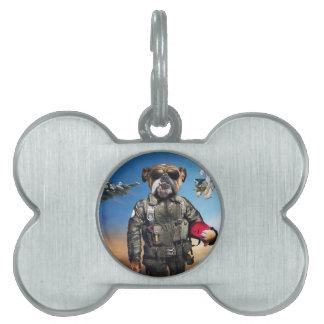 Pilot dog,funny bulldog,bulldog pet tag