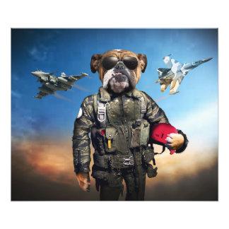 Pilot dog,funny bulldog,bulldog photo print