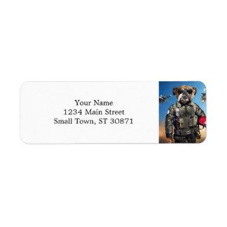 Pilot dog,funny bulldog,bulldog return address label