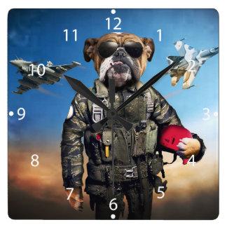 Pilot dog,funny bulldog,bulldog square wall clock
