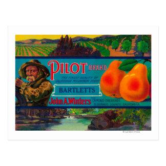 Pilot Pear Crate LabelEl Dorado County, CA Postcard