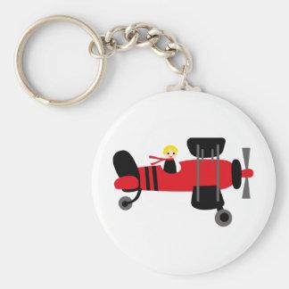 PilotRed4 Basic Round Button Key Ring