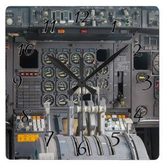 Pilots Cockpit Square Wall Clock