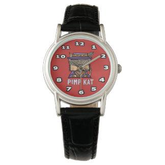 """""""Pimp Kat"""" Classic Womens Black Leather Wristwatches"""