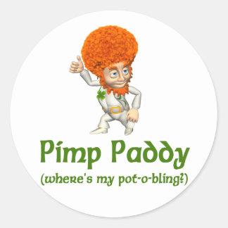 Pimp Paddy St. Patrick's Day Round Sticker