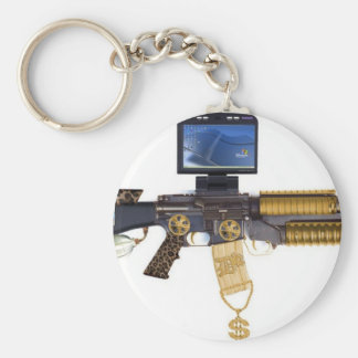 pimped out M-16 Basic Round Button Key Ring