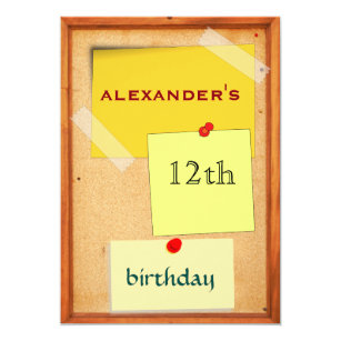 Pin Board Boys 12th Birthday Invitation