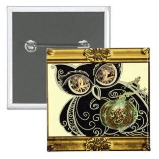 Pin Button Black Scroll Owl pumpkin gold frame