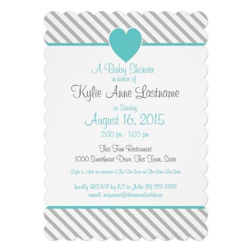 Pin Stripes and Heart Grey and Aqua Custom Invites