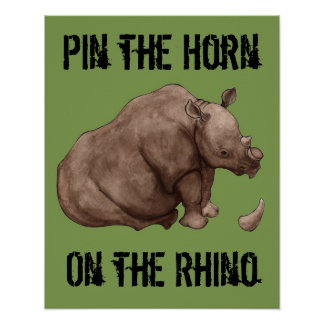 Pin the Horn on the Rhino Poster