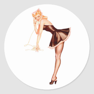 Pin Up Girl #10 @ GarysRetroGarage Classic Round Sticker