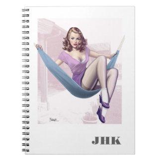 Pin-Up Girl Illustration Custom Notebooks
