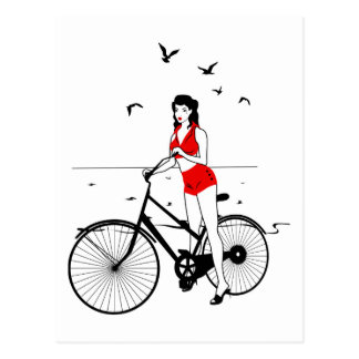 Pin-up girl on a bicycle postcard