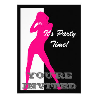 Pin up girl on black and white party custom invite