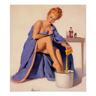 Pin up in the bath poster
