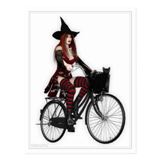 Pin Up Postcard - Pretty Witch ~ Pushbike Ride