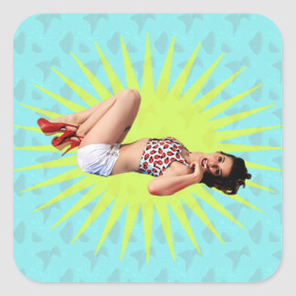 Pin Up Star Square Sticker