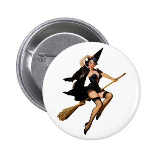 Pin-Up Witch 6 Cm Round Badge