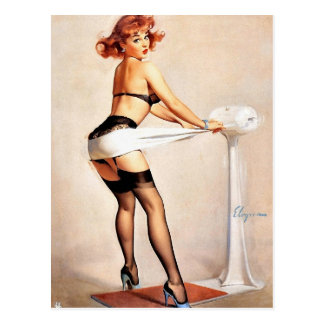 Pin-Up Working Out Postcard