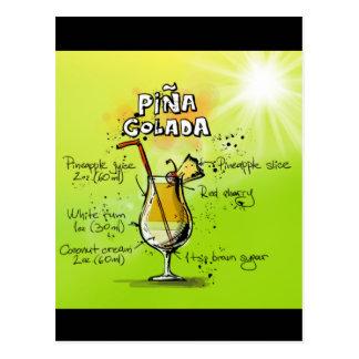 Pina Colada Recipe - Cocktail Gift Postcard