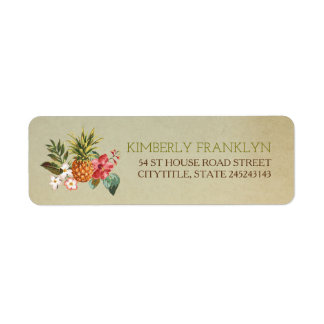 pinapple tropical beach wedding return address label