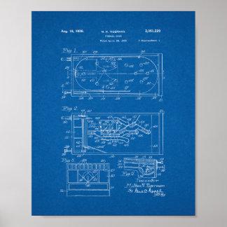 Pinball Game Patent - Blueprint Poster
