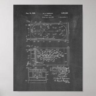 Pinball Game Patent - Chalkboard Poster