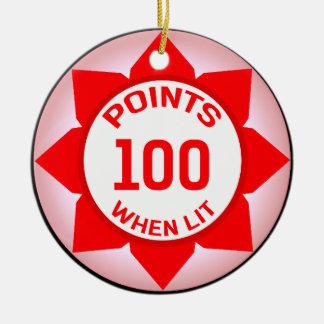 Pinball Machine 10 Points When Lit Ceramic Ornament