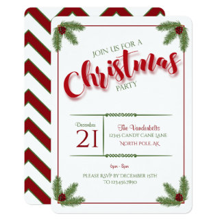 Pine and Berries Christmas Party Card