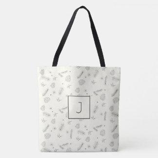 Pine and Berries Pen Ink  Monogram Tote Bag