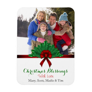 Pine and Ribbon Christmas Blessing Photo Rectangular Photo Magnet