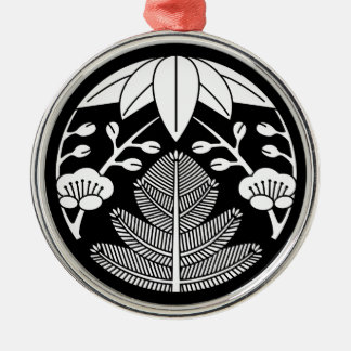 Pine bamboo ume Silver-Colored round decoration