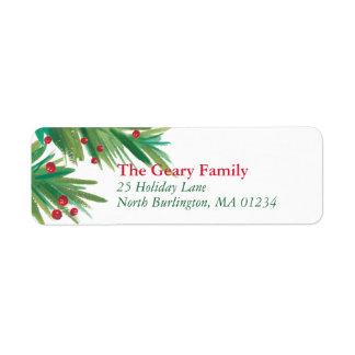Pine & Berries Watercolor   2016 Chrismas Return Return Address Label